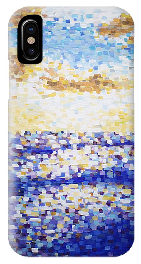 Sunset IPhone X Case featuring the painting Pixelated Sunset by Bridget Brummel