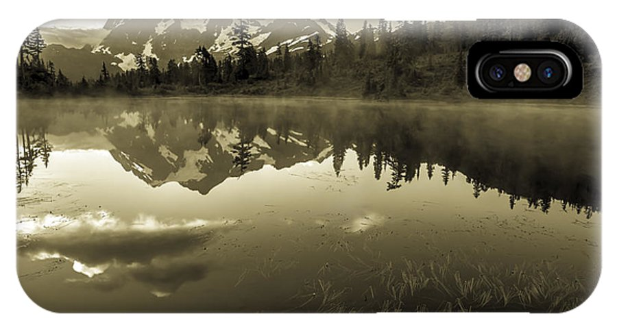 Picture Lake IPhone X Case featuring the photograph Pl Sepia by Bryan Hildebrandt