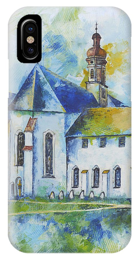 Acrylic IPhone X Case featuring the painting Place Of Silence by Jutta Maria Pusl