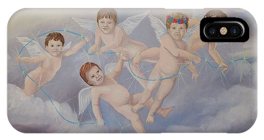 Angels IPhone X Case featuring the painting Placing The Stars by Wanda Dansereau