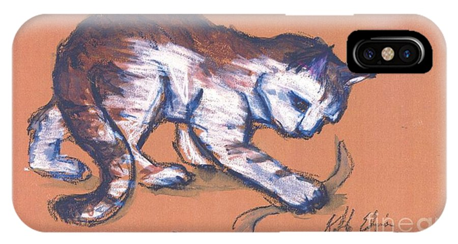 Cats IPhone X Case featuring the drawing Playful Kitty by Kathye Arrington