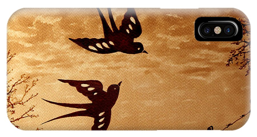 Swallow IPhone X Case featuring the painting Playful Swallows Original Coffee Painting by Georgeta Blanaru