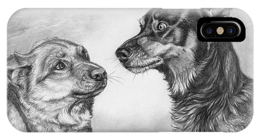 Dog IPhone X Case featuring the drawing Playing Dog's Emotions by Svetlana Ledneva-Schukina