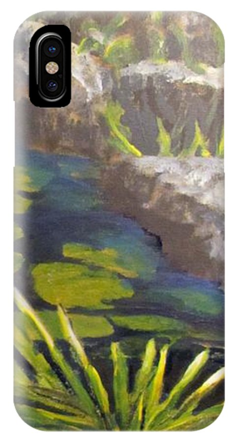Koi IPhone X Case featuring the painting Playing Koi Under The Rocks by Bev Morgan