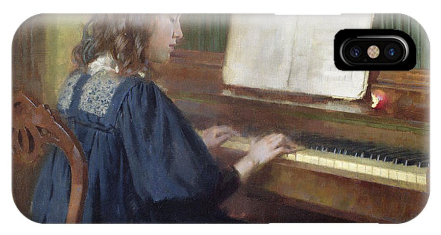 Playing The Piano IPhone X Case featuring the painting Playing The Piano by Ernest Higgins Rigg