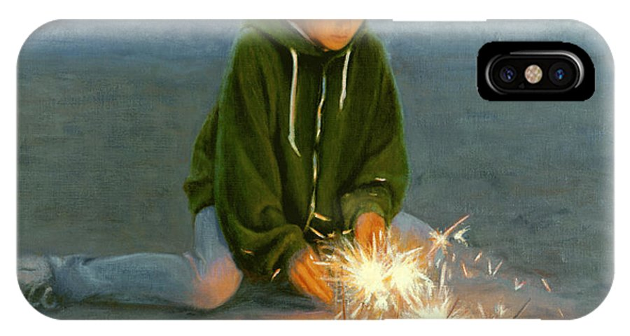 Boy IPhone X / XS Case featuring the painting Playing With Fire by Candace Lovely