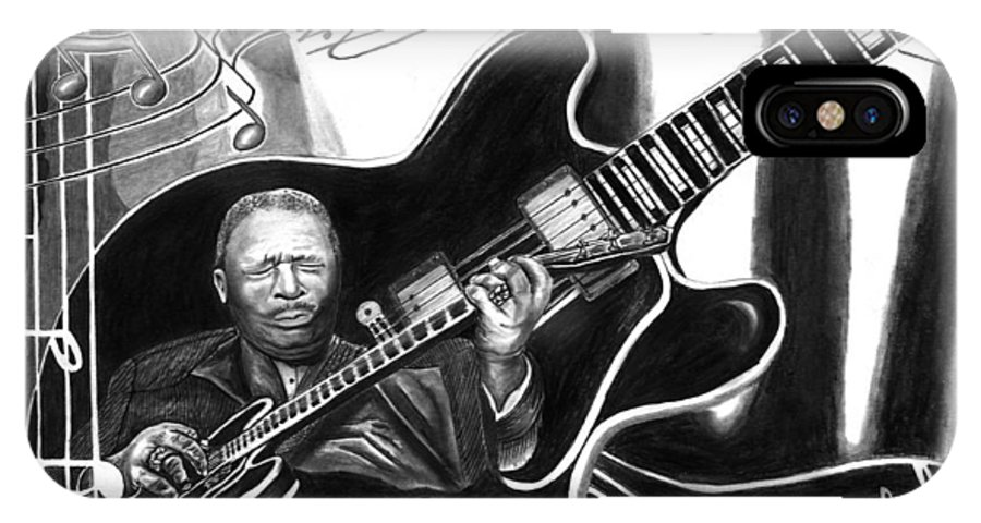 Playing With Lucille - Bb King IPhone X Case featuring the drawing Playing With Lucille - Bb King by Peter Piatt