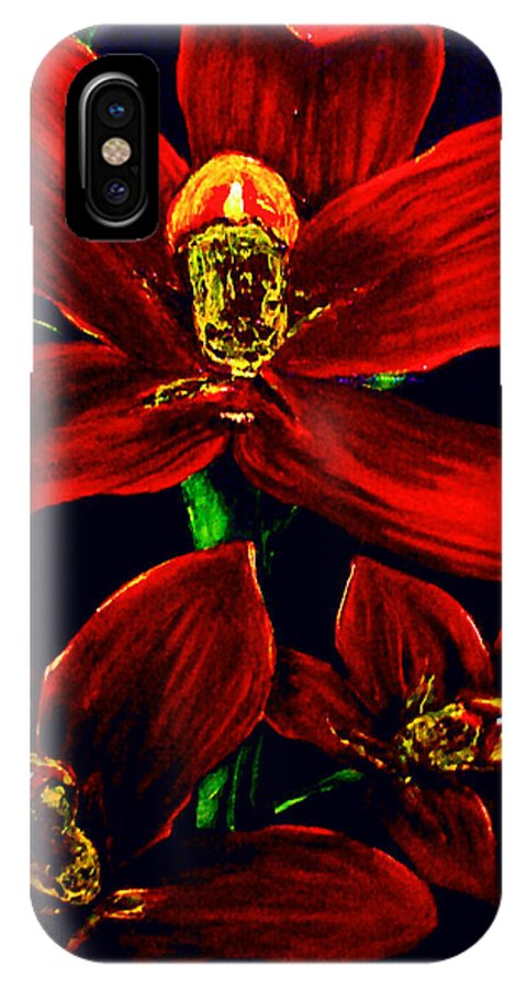 Orchid IPhone X Case featuring the painting Please Love Me Outstandingly Well by Arianne Lequay