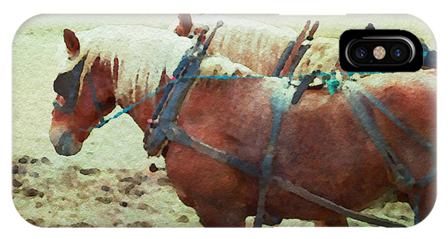 Horses IPhone X Case featuring the photograph Plow Horses by Alice Gipson