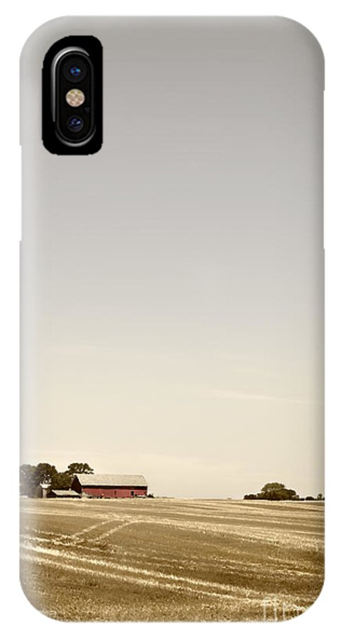 Field; Pasture; Farm; Grasses; Wheat; Plowed; Red; Barn; Farm; Outside; Outdoors; Day; Nature; Sky; Rural; Land; Lines; Path; Expanse; Golden IPhone X Case featuring the photograph Plowed by Margie Hurwich