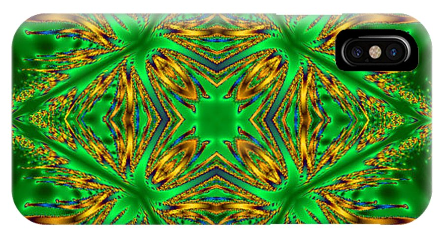 Fractal Kaleidoscope IPhone X Case featuring the digital art Plug In Star by Pat Follett