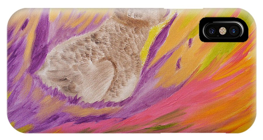 Rabbit IPhone X Case featuring the painting Plunge Into Your Painting by Meryl Goudey