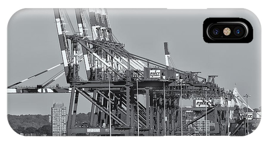 Clarence Holmes IPhone X Case featuring the photograph Pnct Facility In Port Newark-elizabeth Marine Terminal II by Clarence Holmes