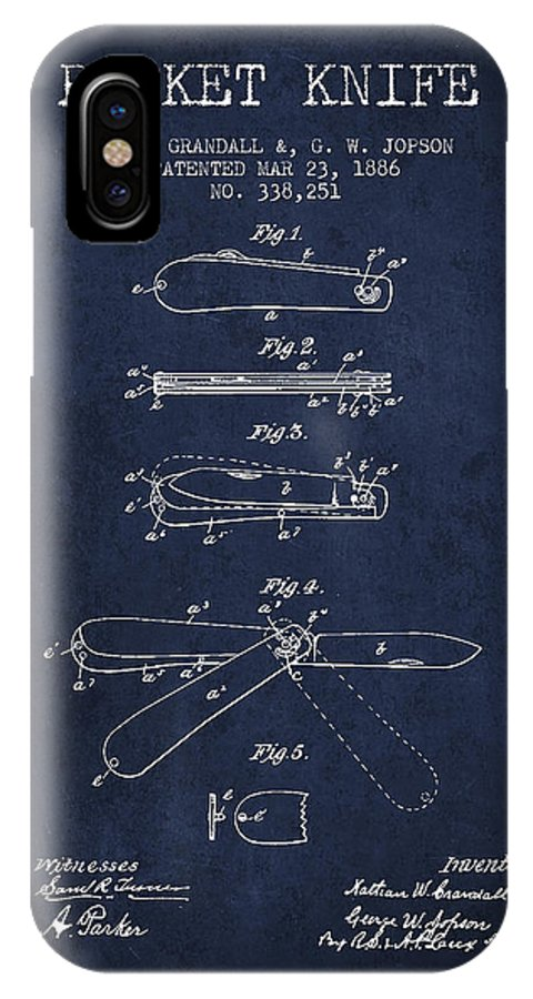 Pocket Knife IPhone X / XS Case featuring the digital art Pocket Knife Patent Drawing From 1886 - Navy Blue by Aged Pixel