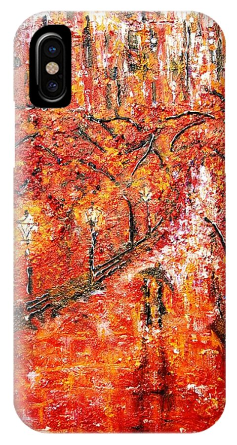 Contemporary Impressionism IPhone X Case featuring the painting Poet's Walk by Helen Kagan