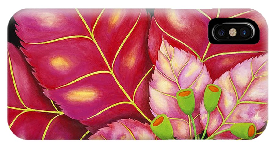 Acrylic IPhone X / XS Case featuring the painting Poinsettia by Carol Sabo