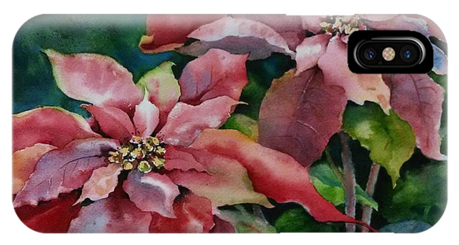 Poinsettia IPhone X Case featuring the painting Poinsettia Pair by Michele Thorp