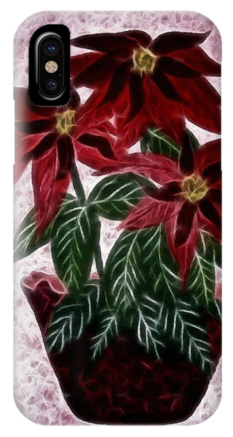 Poinsettias Expressive Brushstrokes IPhone X Case featuring the photograph Poinsettias Expressive Brushstrokes by Barbara Griffin