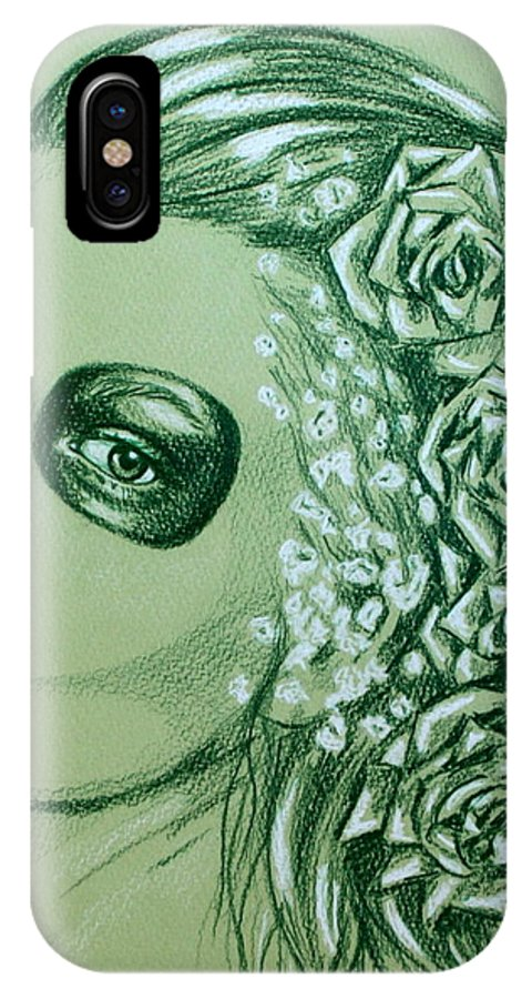 Girl IPhone X Case featuring the drawing Poison Ivy by Louise Nylander