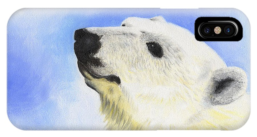 Polar Bear Art IPhone X Case featuring the painting Polar Bear by Annamarie Lombardo