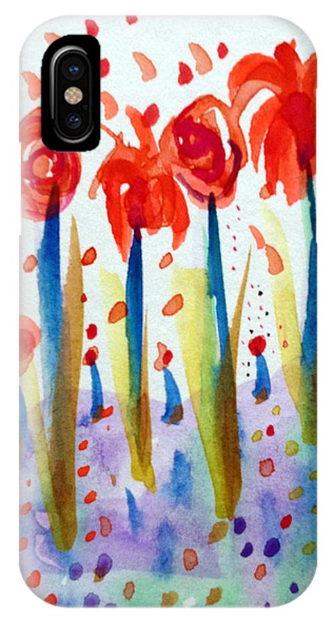 Pollinating IPhone X / XS Case featuring the painting Pollinating Poppies by Patricia Lazaro