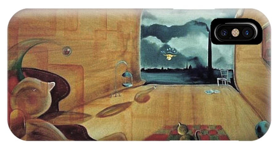 Fantasy IPhone Case featuring the painting Pollution by Blima Efraim