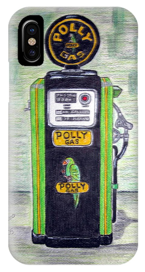 Parrot IPhone X Case featuring the painting Polly Gas Pump by Kathy Marrs Chandler