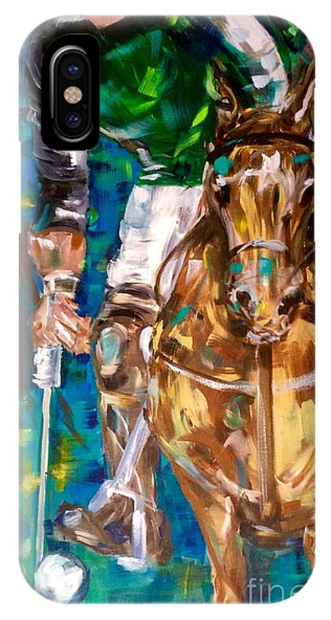 Polo IPhone X Case featuring the painting Polo Player by Lisa Owen-Lynch