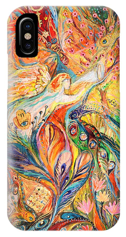 Original IPhone X Case featuring the painting Polyptich Part II - Air by Elena Kotliarker