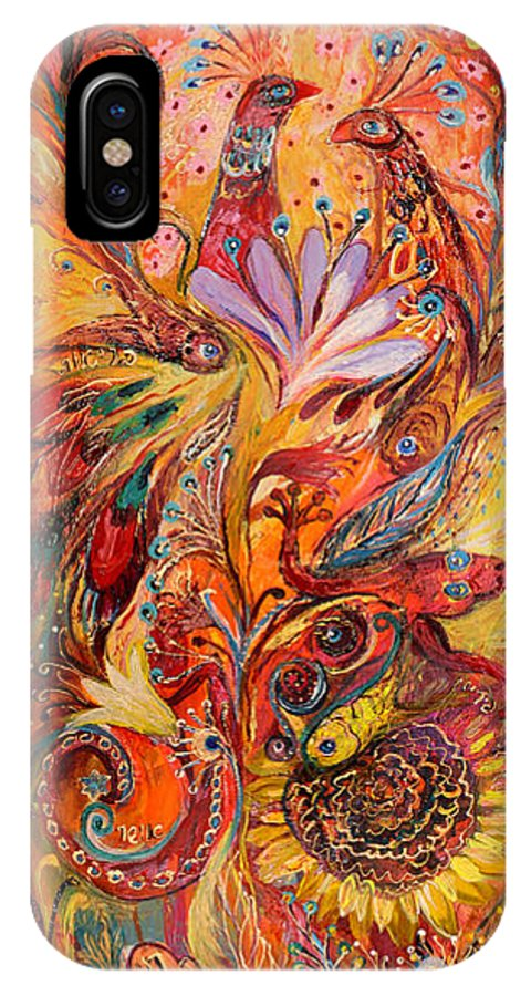Original IPhone X Case featuring the painting Polyptich Part IIi - Fire by Elena Kotliarker
