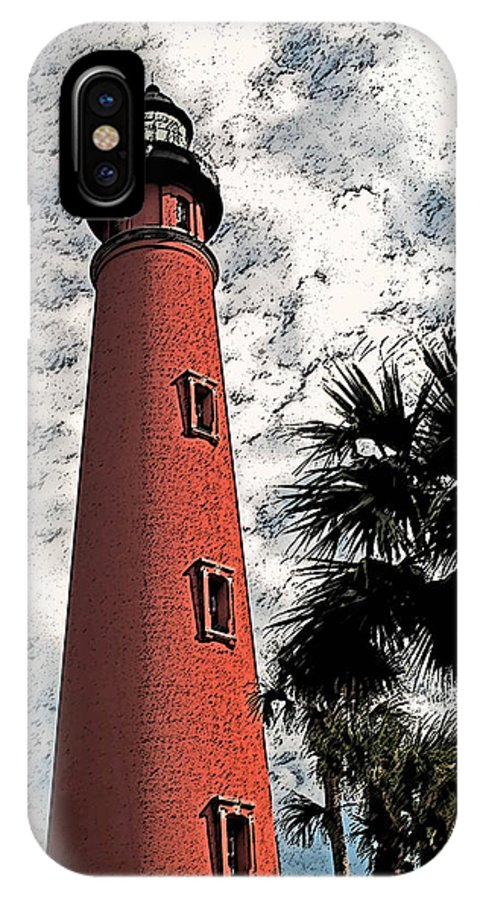 Lighthouses IPhone X Case featuring the photograph Ponce Lighthouse Artistic Brush by G L Sarti
