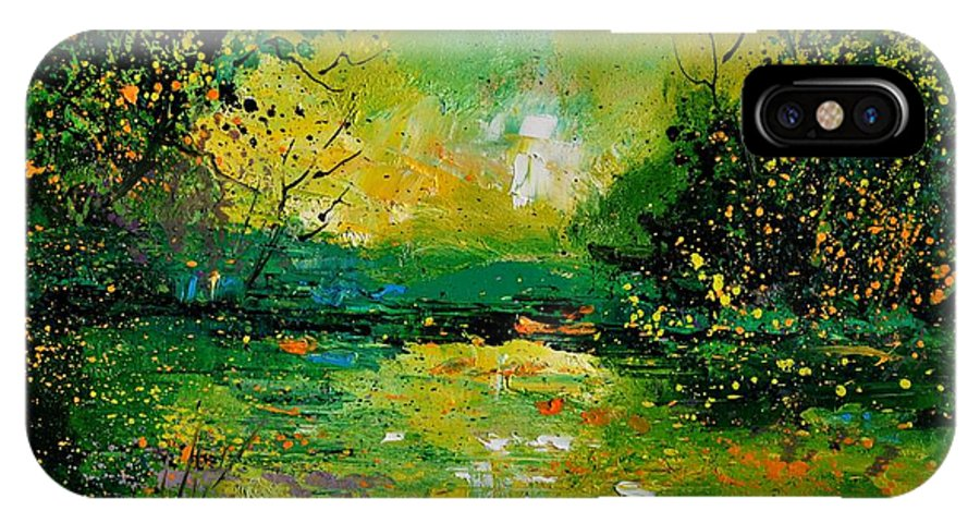 Landscape IPhone X Case featuring the painting Pond 5431 by Pol Ledent
