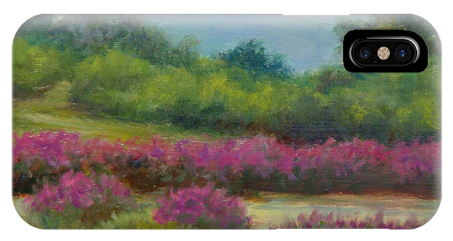 Landscape IPhone X / XS Case featuring the painting Pond At Willow Tree Farm by Phyllis Tarlow