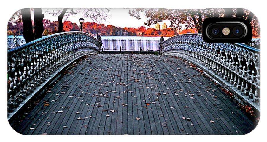 Central Park IPhone X Case featuring the photograph Pond Footbridge by S Paul Sahm