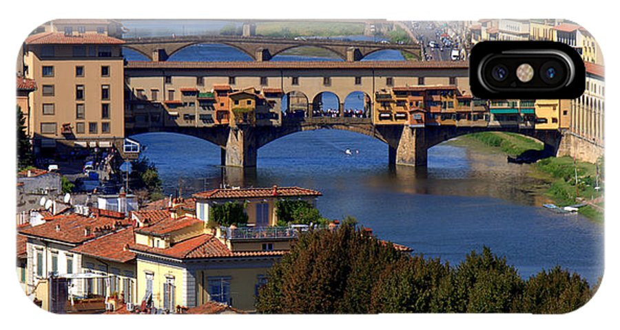 Florence IPhone X Case featuring the photograph Ponte Vecchio And Arno River by Caroline Stella