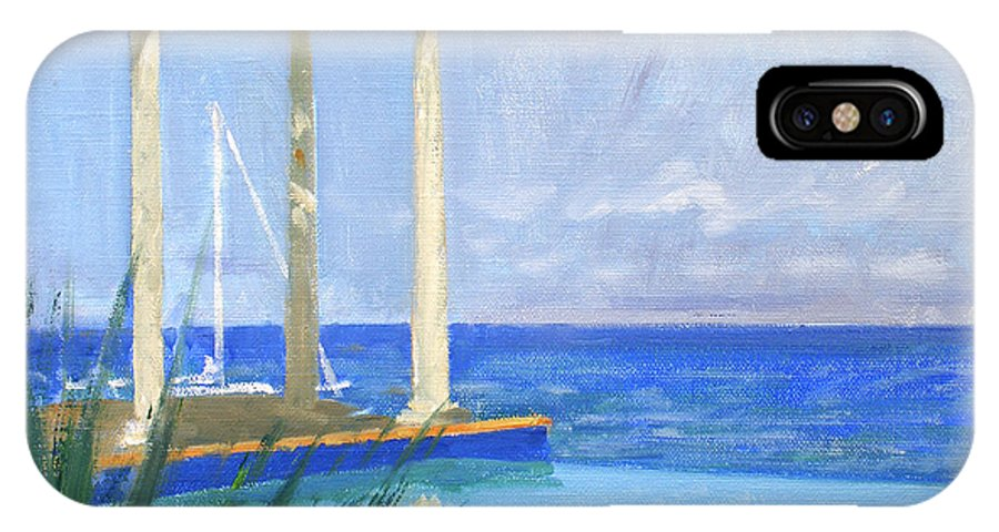 Infinity Pool IPhone X Case featuring the painting Pool Cabana Morning by Candace Lovely