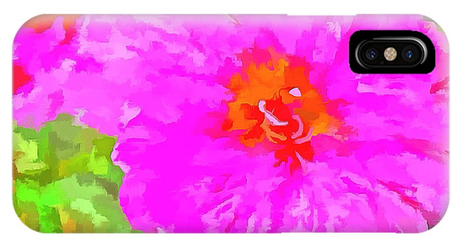 Digitized Photo IPhone X Case featuring the photograph Pop Art Floral by Mario Carini