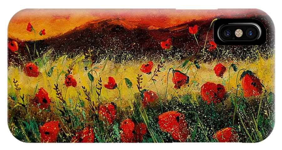 Poppies IPhone X / XS Case featuring the painting Poppies 68 by Pol Ledent