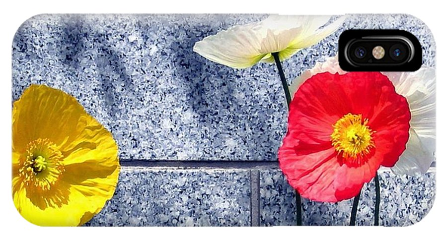 Poppies And Granite IPhone X Case featuring the digital art Poppies And Granite by Will Borden