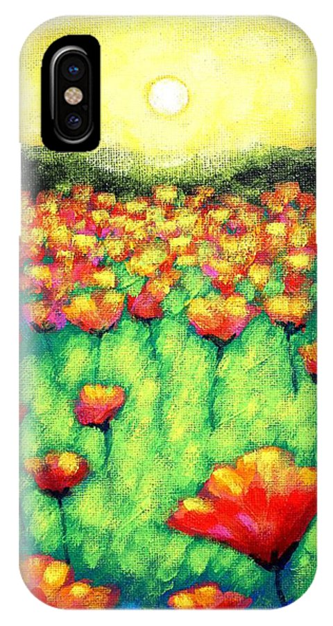 Acrylic IPhone X Case featuring the painting Poppies At Twilight  Cropped Version by John Nolan