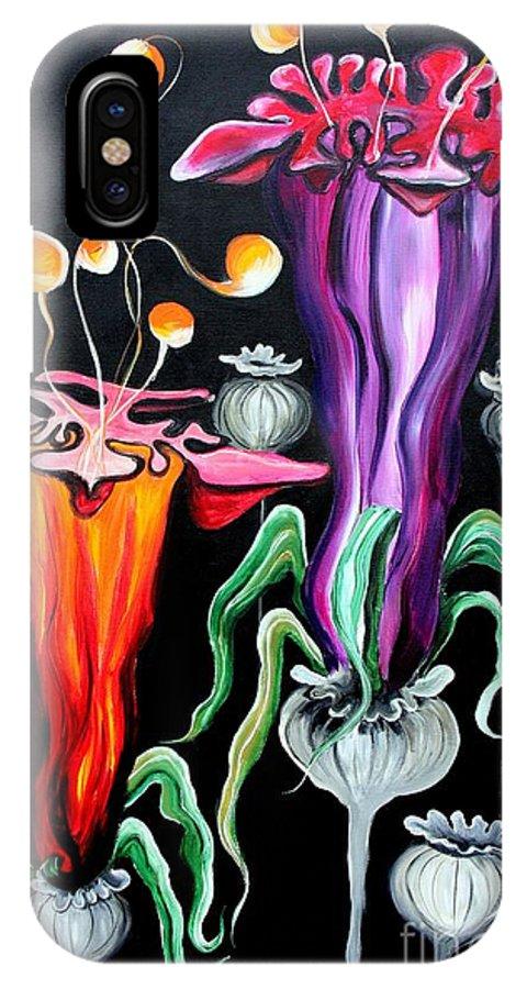 Poppies IPhone X / XS Case featuring the painting Poppies Fantasy.. by Jolanta Anna Karolska