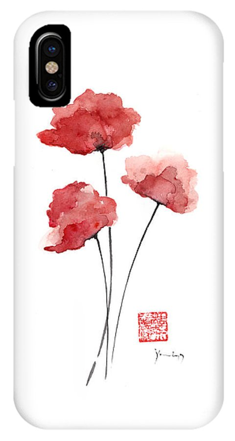Poppies Flowers Orange Red Poppy Flower Watercolor Painting Ink Iphone X Case