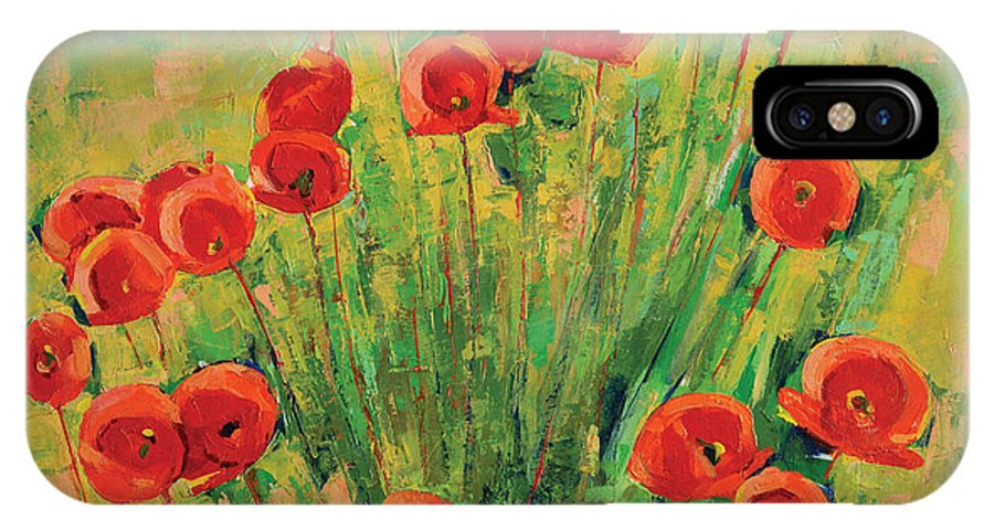 Poppies IPhone X Case featuring the painting Poppies by Iliyan Bozhanov