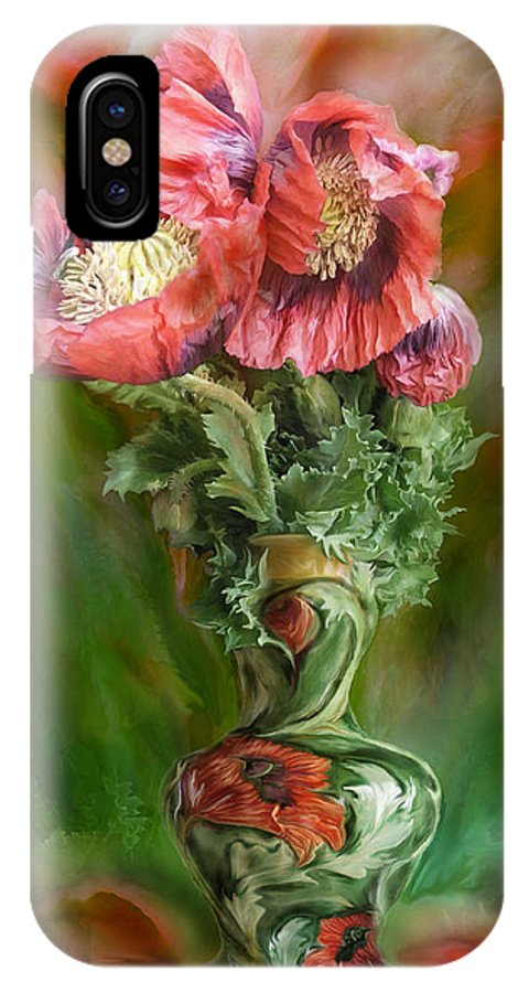 Poppy Art IPhone X Case featuring the mixed media Poppies In A Poppy Vase by Carol Cavalaris