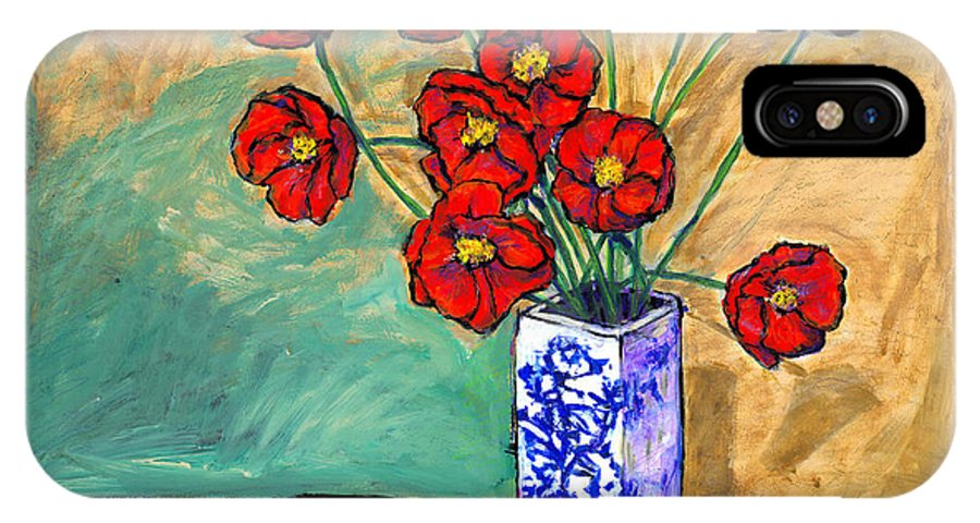 Poppies IPhone X Case featuring the painting Poppies In A Vase With Fruit by Dale Moses