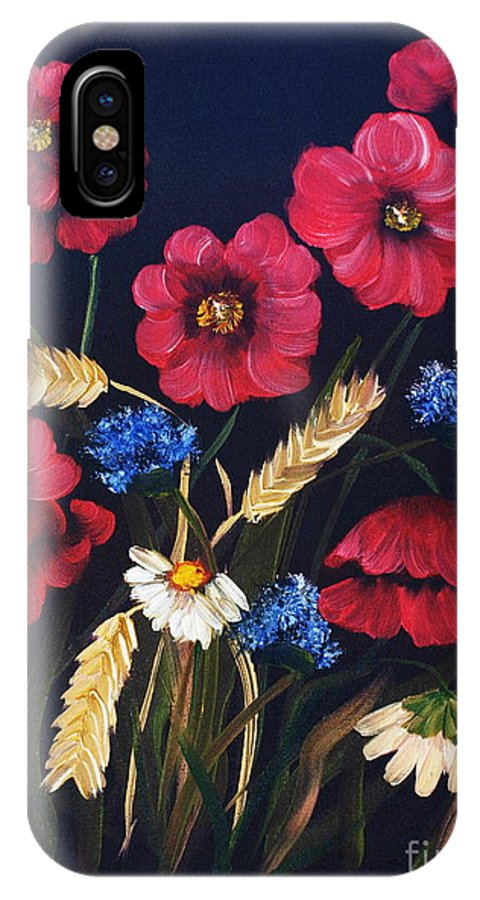 Floral IPhone X Case featuring the painting Poppies In Oils by Corina Hogan