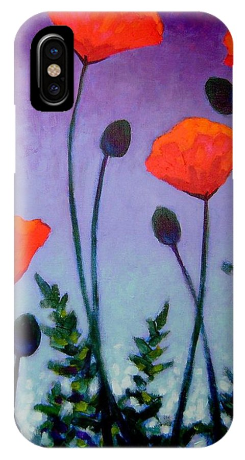 Acrylic IPhone X Case featuring the painting Poppies In The Sky II by John Nolan