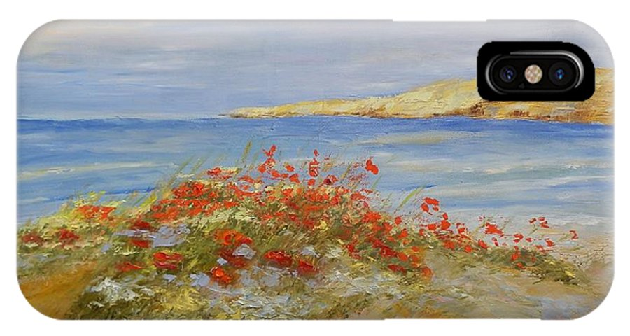 Poppies IPhone X Case featuring the painting Poppies On The Beach by Maria Karalyos
