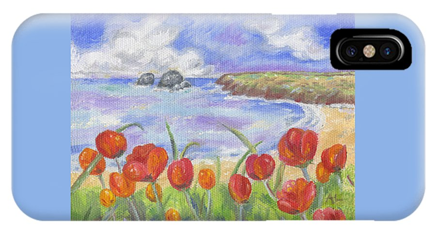 Red Flowers IPhone X Case featuring the painting Poppy Beach by Annamarie Lombardo
