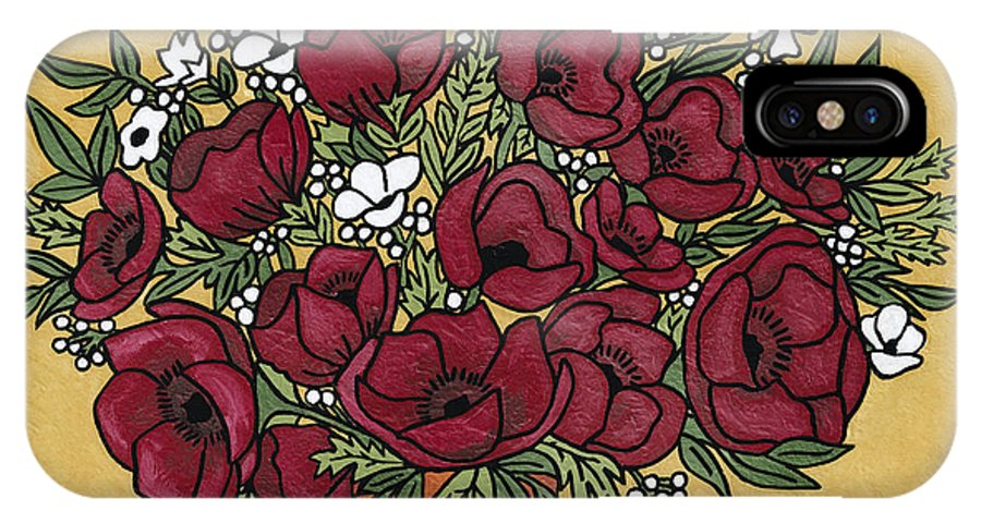 Poppy IPhone X Case featuring the painting Poppy Bouquet by Medana Gabbard